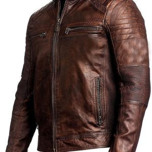 Cafe Racer Motorcycle Brown Leather Jacket for Men