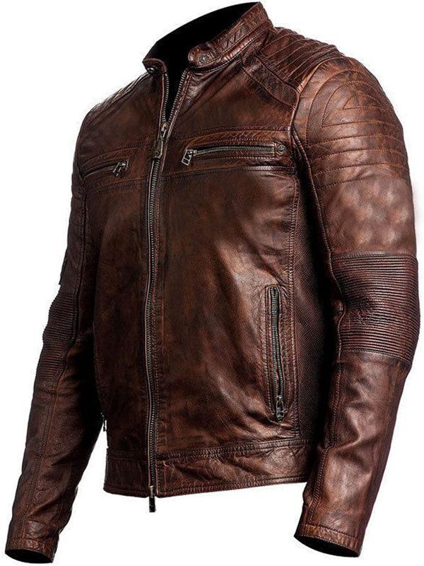 Cafe Racer Motorcycle Brown Leather Jacket for Men
