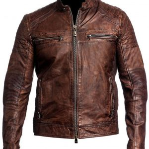 Men's Cafe Racer Brown Leather Jacket