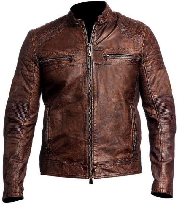Men's Cafe Racer Brown Leather Jacket
