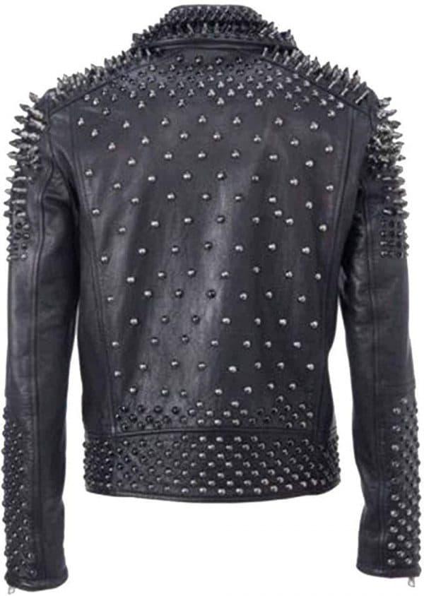 Men's Black Studded Leather Jacket