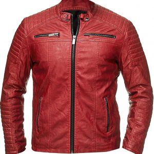 Cafe Racer Red Leather Jacket