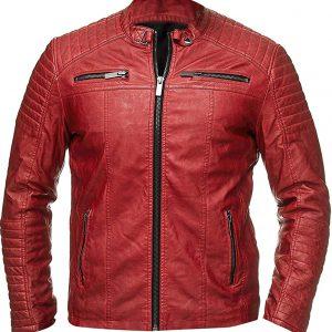 Cafe Racer Red Leather Jacket