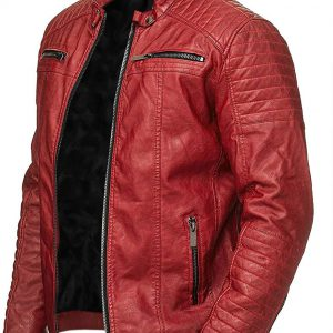 Men's Red Cafe Racer Jacket
