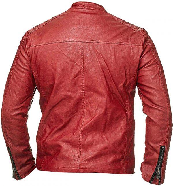 Red Cafe Racer Biker Leather Jacket for Men
