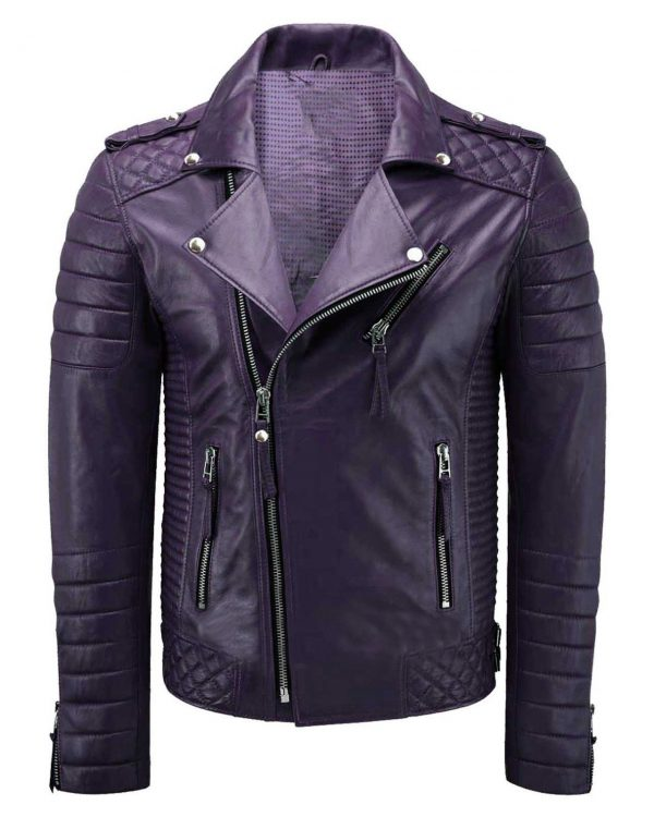 purple leather jacket for men