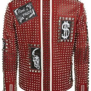 Brando Studded Red Leather Jacket for Men