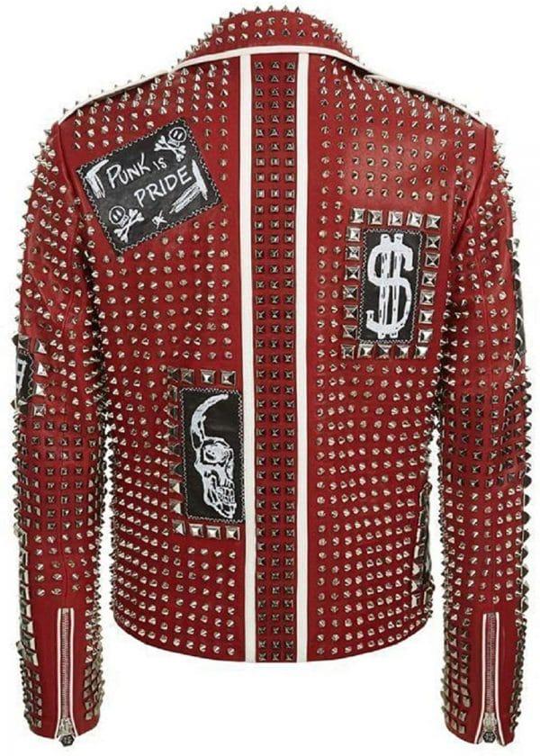 Brando Studded Red Leather Jacket for Men