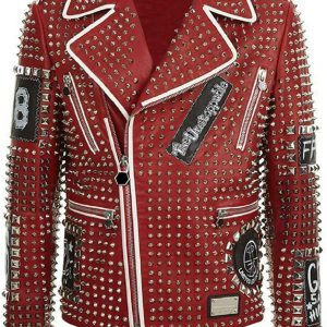 Men's Studded Red Leather Jacket