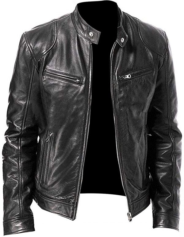 Men's Slim Fit Black Leather Jacket