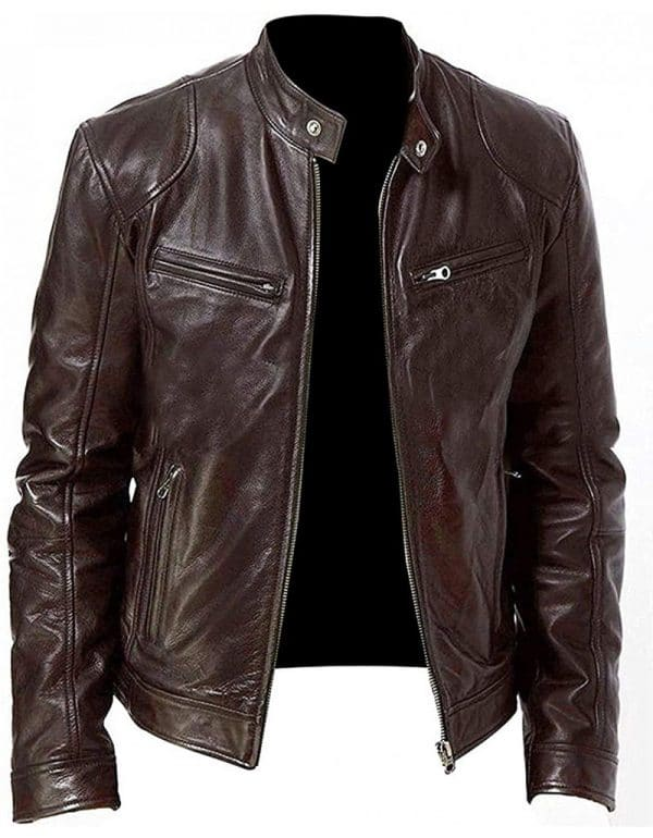 Slim Fit Leather Jacket Men