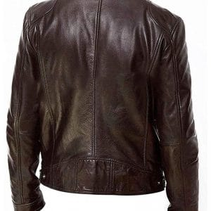 Men's Slim Fit Brown Leather Jacket