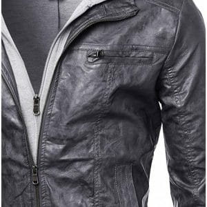 Men's Hooded Black Leather Jacket
