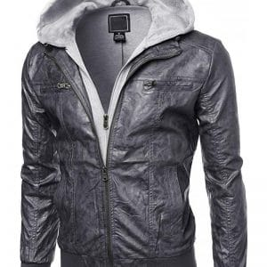 Hooded Leather Jacket Men