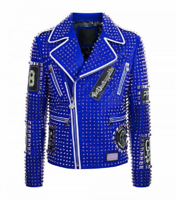 Brando Studded Blue Leather Jacket for Men