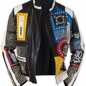 Studded Leather Jacket Men
