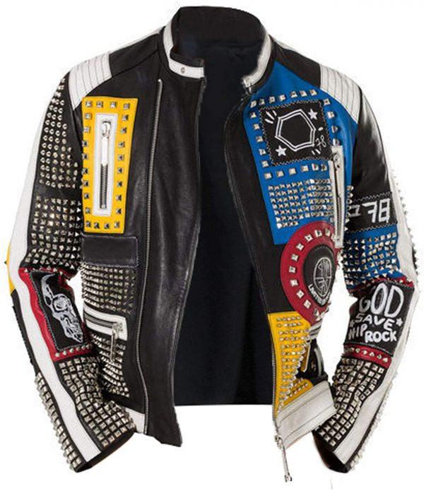 Studded Leather Jacket Men