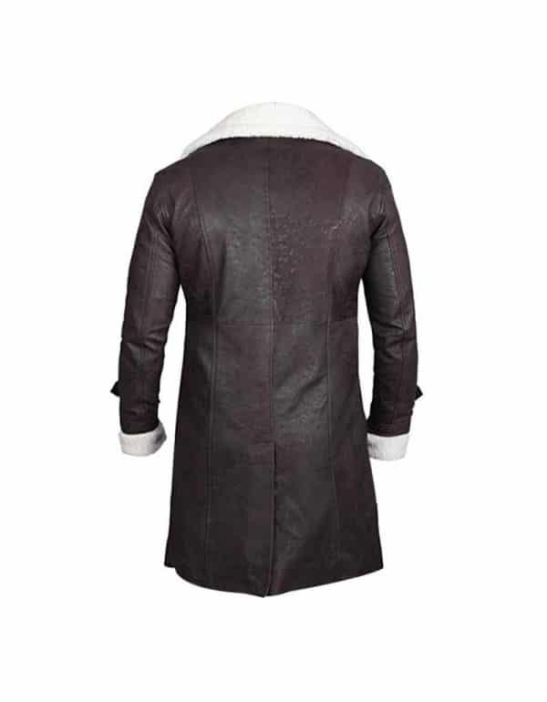 Men's Fur Shearling Black Leather Trench Coat Trevor Jackson