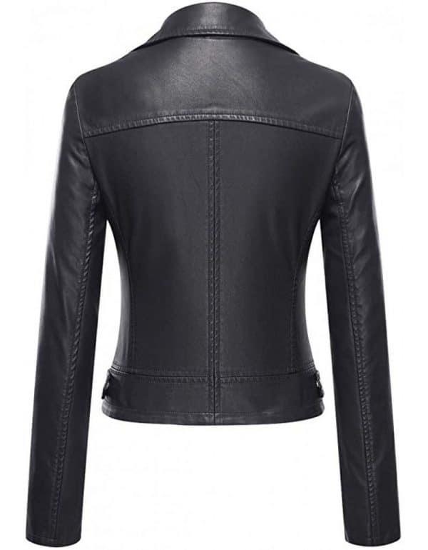 Ladies Black Brando Leather Jacket Backside