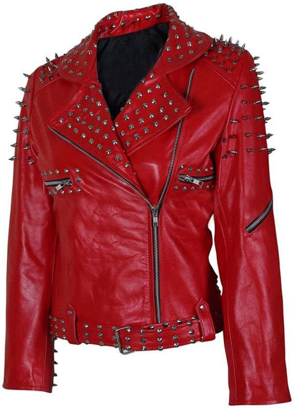 Women's Studded Red Leather Jacket