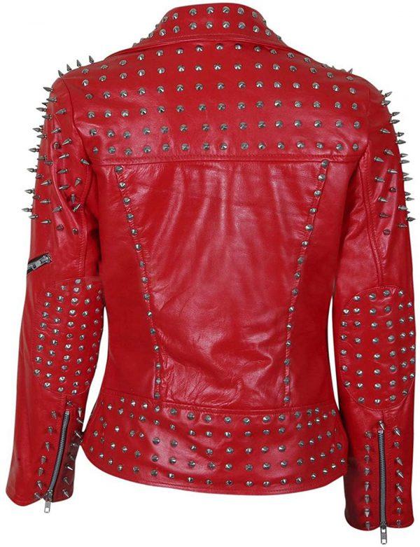 Women's Brando Red Studded Leather Jacket Rockstar Style