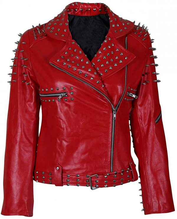 Studded Red Leather Jacket Women