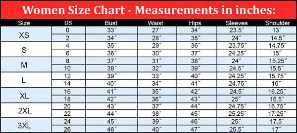 Women's Jacket Size Chart