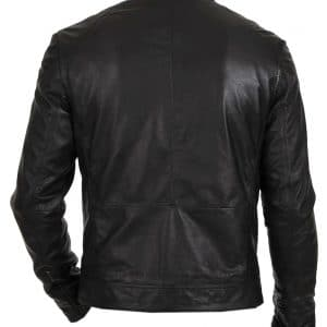 Men's Slim Fit Motorcycle Black Leather Jacket