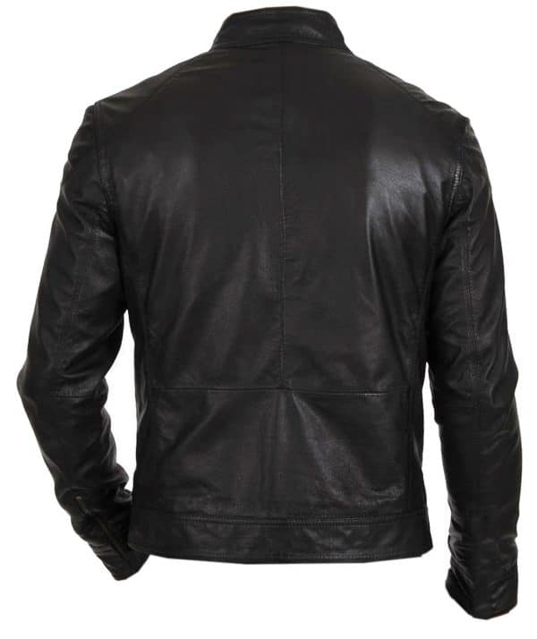 Men's Slim Fit Motorcycle Black Leather Jacket