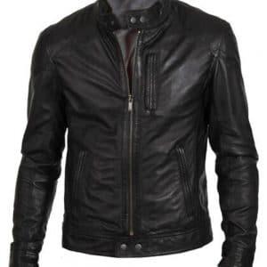 Men's Slim Fit Black Leather Jacket