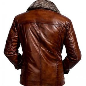 Fur Collar Motorcycle Leather Jacket for Men