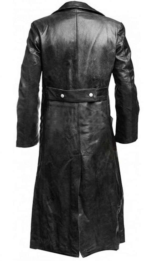 Men's Military Officer Black Leather trench Coat - World War 2 Costume