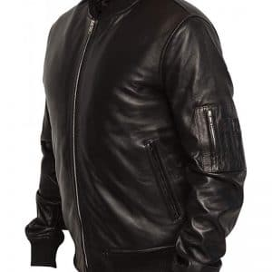Men's Bomber Pilot Black Leather Jacket
