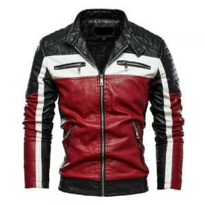 Slim-Fit Red Black Leather Jacket