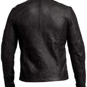 Men's Cafe Racer Black Leather Jacket
