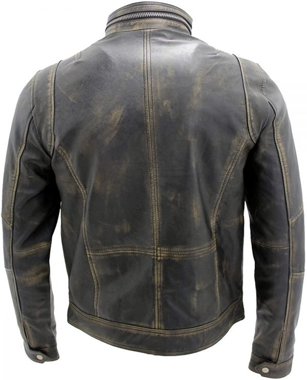 Distressed Motorcycle Black Leather Jacket for Men