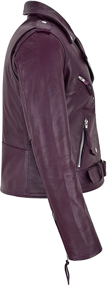Ladies Purple Leather Jacket