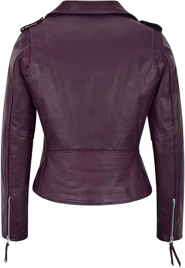 Women's Purple Motorcycle Leather Jacket