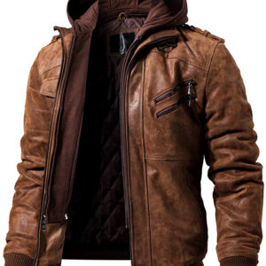 hooded leather jacket for men