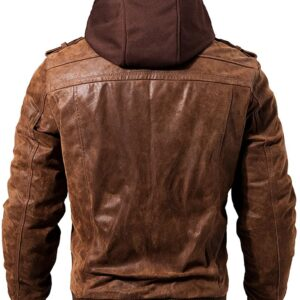Brown Bomber Hooded Leather Jacket Men