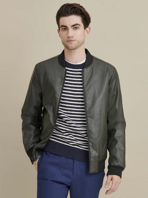 Bomber black leather jacket