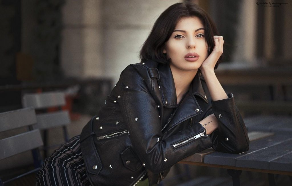 Hot women in leather jacket