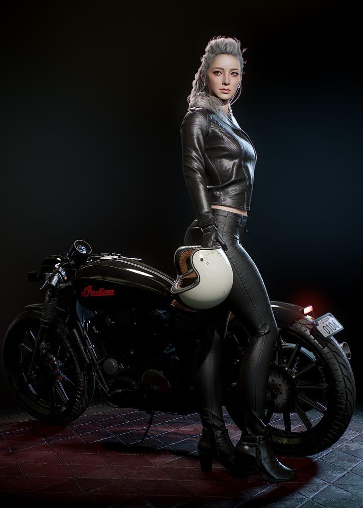 Women on bike wearing leather apperal